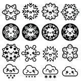Copos de nieve de Kawaii, nubes con la nieve - la Navidad, iconos del invierno fijados Foto de archivo