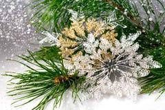 Copos de nieve de la decoración de la Navidad Foto de archivo libre de regalías