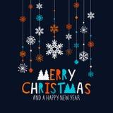 Copos de nieve de la Feliz Navidad Imagen de archivo