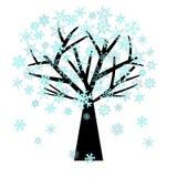 Copos de nieve de la Navidad en árbol en invierno libre illustration