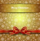Copos de nieve de la tarjeta de la Feliz Navidad - fondo del oro Imagen de archivo