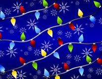Copos de nieve de las luces de la Navidad Foto de archivo
