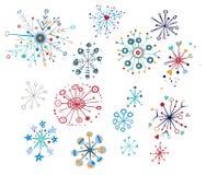 Copos de nieve decorativos ilustración del vector