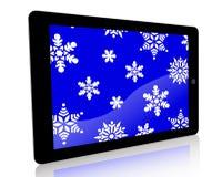 Copos de nieve del anuncio de la tableta - azul Imágenes de archivo libres de regalías