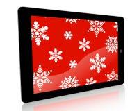 Copos de nieve del anuncio de la tableta - rojo Foto de archivo libre de regalías