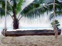 Copos de nieve del invierno de la historieta en la playa con el ejemplo del banco de madera 3d de las palmas stock de ilustración