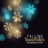 Copos de nieve del invierno del oro que brillan Fotos de archivo libres de regalías