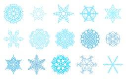 Copos de nieve del invierno fijados Foto de archivo libre de regalías