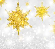 Copos de nieve del oro foto de archivo libre de regalías
