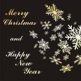 Copos de nieve del oro de la Navidad Fotografía de archivo