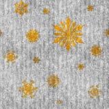 Copos de nieve del oro en la plata brillante stock de ilustración