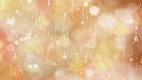 Copos de nieve del oro y fondo del árbol de navidad almacen de metraje de vídeo