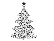 Copos de nieve del vector en dimensión de una variable del árbol de navidad Imagen de archivo