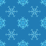 Copos de nieve del Watercolour en fondo azul ilustración del vector