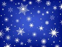 Copos de nieve en azul   ilustración del vector