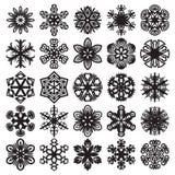 Copos de nieve en azul Negro en blanco Sistema 1 Foto de archivo libre de regalías