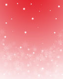 Copos de nieve en fondo rojo Fotografía de archivo