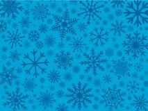 Copos de nieve en sombras del azul stock de ilustración
