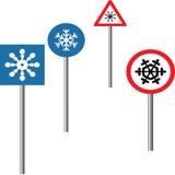 Copos de nieve en tráfico stock de ilustración