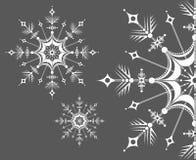 Copos de nieve en un fondo Feliz Año Nuevo de la tarjeta de felicitación Ilustración del vector Fotografía de archivo