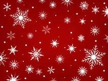 Copos de nieve en un fondo rojo ilustración del vector