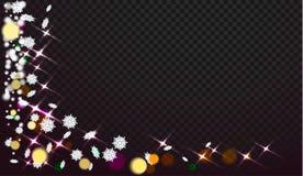 Copos de nieve en un fondo transparente Los extractos ahora están en diseño de la Navidad Lugar para su texto o foto ilustración del vector