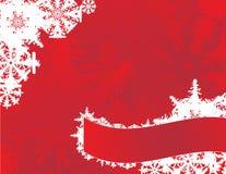 Copos de nieve en una tarjeta roja Foto de archivo libre de regalías