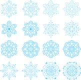 16 copos de nieve fijados stock de ilustración