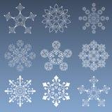 Copos de nieve fijados Fotos de archivo