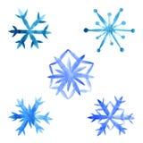 Copos de nieve fijados en un fondo blanco stock de ilustración