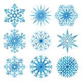 Copos de nieve fijados Vector fotografía de archivo libre de regalías