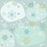 Copos de nieve fondo azul, papel pintado del invierno Fotografía de archivo
