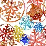 Copos de nieve de la acuarela en colores de felices cristmas ilustración del vector