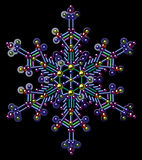 Copos de nieve multicolores de las lentejuelas Clip art del vector Fondo negro stock de ilustración