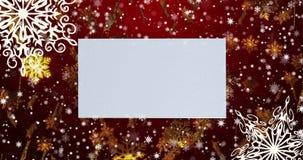Copos de nieve de oro del fondo loopable inconsútil rojo de la Navidad Visión superior con el espacio de la letra y de la copia 4 almacen de video