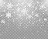 Copos de nieve que caen aislados en un fondo transparente recubrimiento Decoración del invierno para el día de fiesta del Año Nue libre illustration