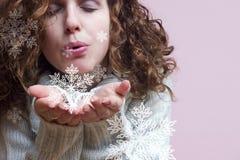 Copos de nieve que soplan Fotos de archivo libres de regalías
