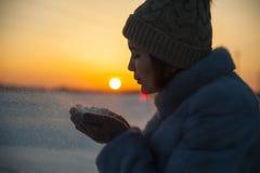 Copos de nieve que soplan en la puesta del sol foto de archivo