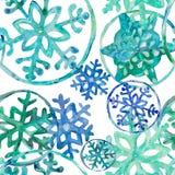 Copos de nieve ultramarinos de Aqwarelle stock de ilustración