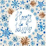 Copos de nieve y conos azules hermosos de la acuarela Foto de archivo