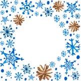 Copos de nieve y conos azules hermosos de la acuarela Imagen de archivo