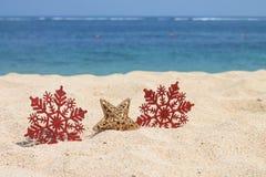 Copos de nieve y estrella rojos del oro Imagen de archivo libre de regalías