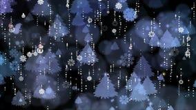 Copos de nieve y fondo del árbol de navidad metrajes