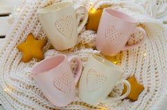Copos delicados com corações Imagem de Stock Royalty Free