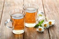 Copos do chá de camomila Imagens de Stock Royalty Free