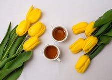Copos do chá e das tulipas Fotografia de Stock Royalty Free