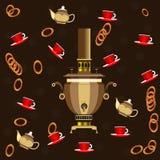 Copos do samovar do chá e dos Bagels para o chá ilustração royalty free