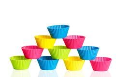 Copos do silicone do cozimento para queques ou queques Imagens de Stock Royalty Free
