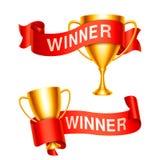 Copos do troféu com fitas Foto de Stock Royalty Free