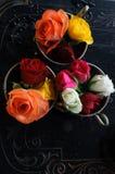 Copos do vintage com rosas Imagem de Stock